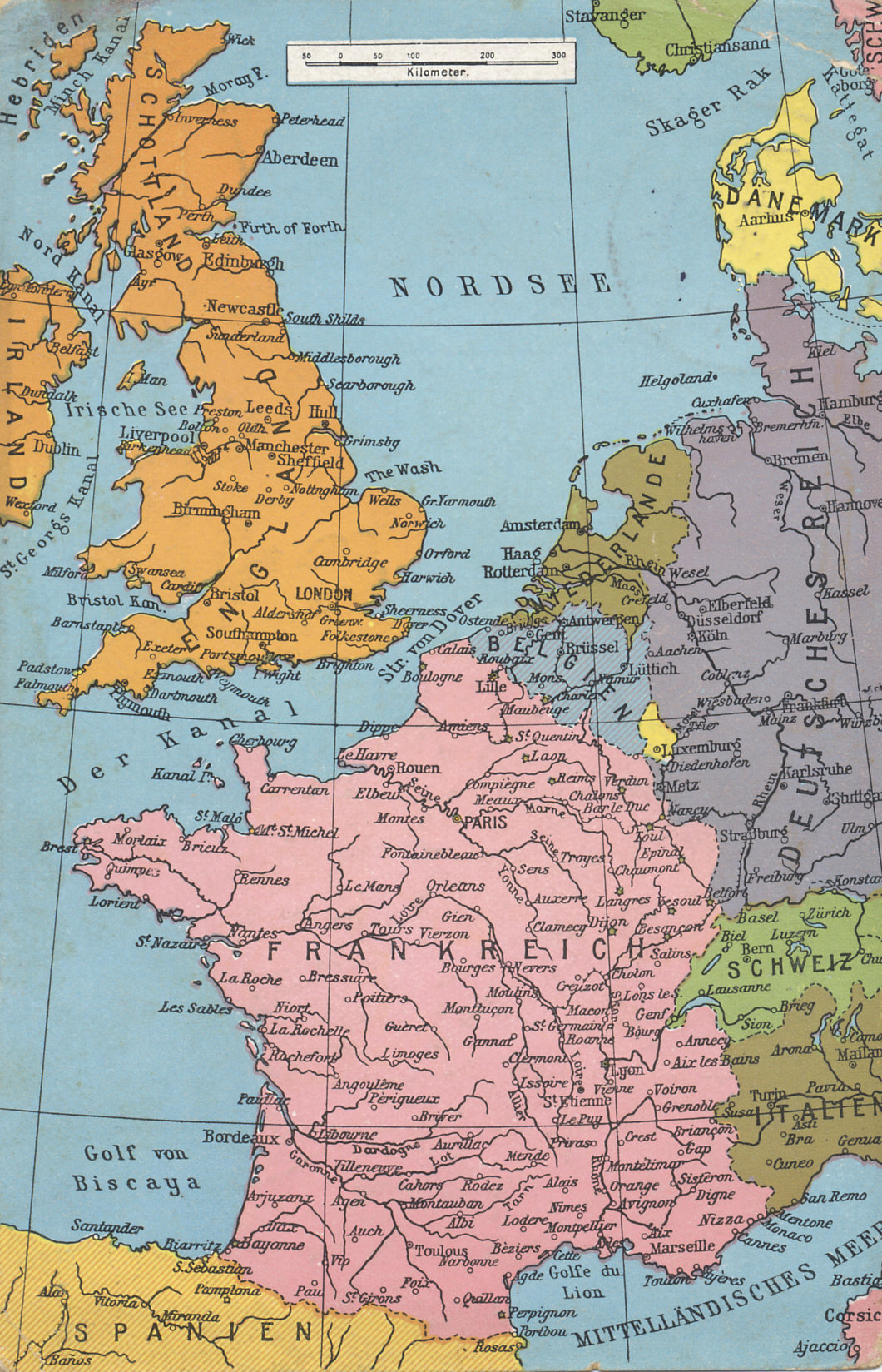 map of western europe from the mediterranean to the north sea including france and belgium the western front