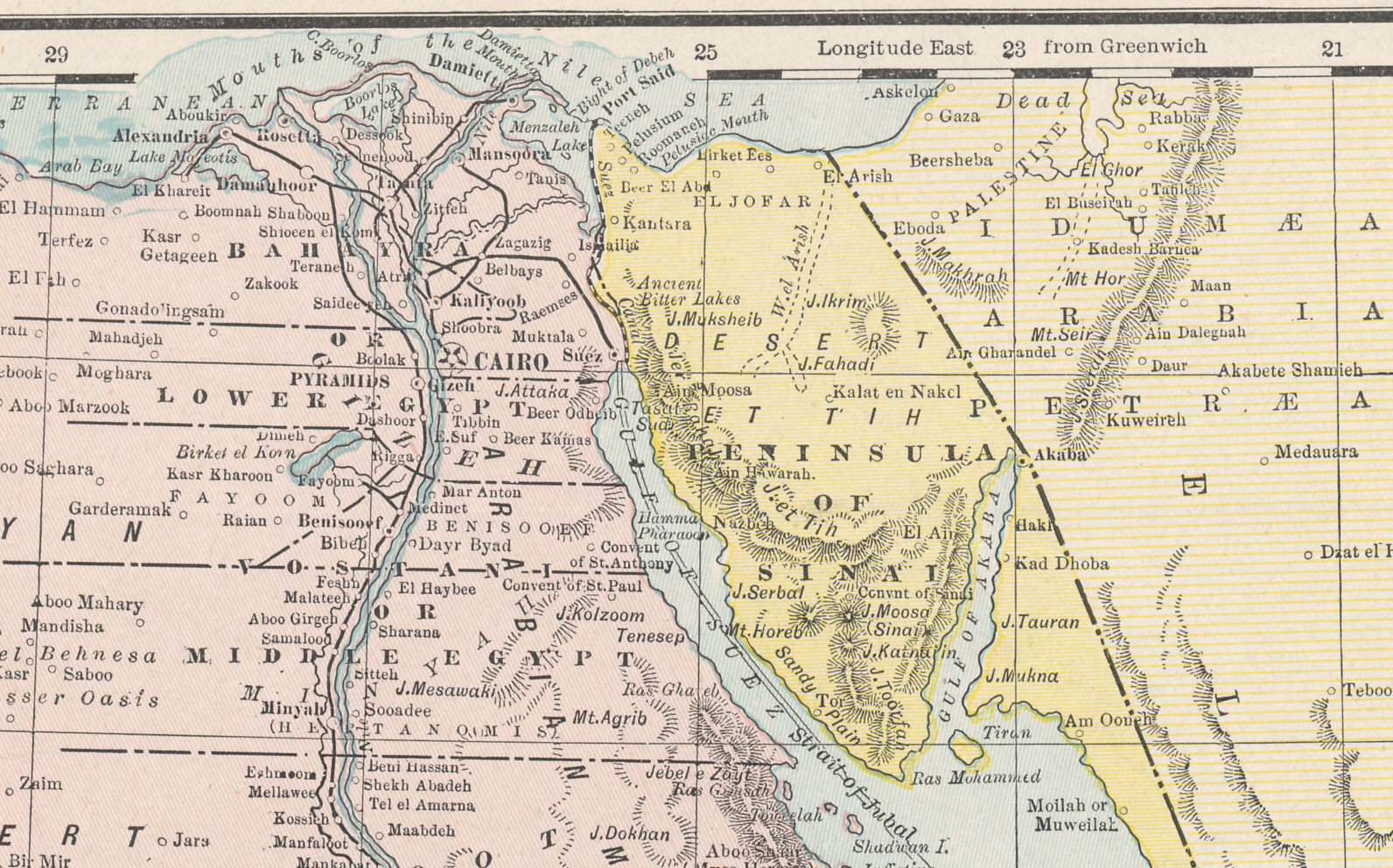 Map library northern egypt the suez canal and sinai from crams 1896 railway map of the turkish empire gumiabroncs Choice Image