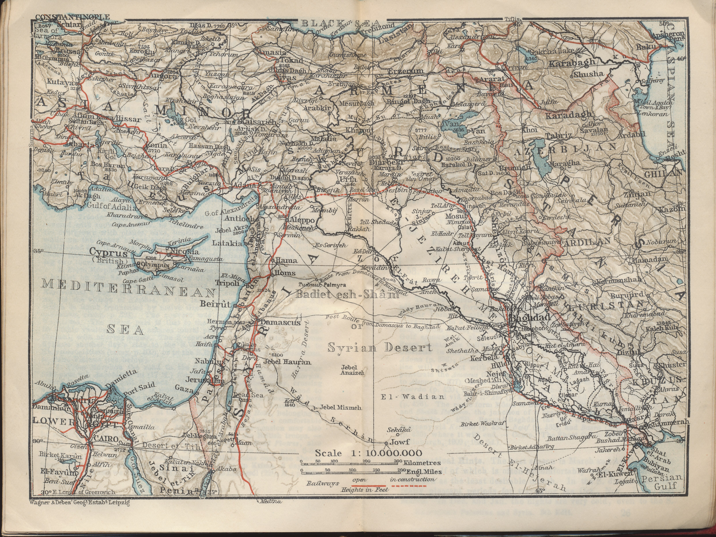 Palestine and syria with routes through mesopotamia and babylonia map of syria palestine and turkey from the baedeker 1912 travel guide palestine and gumiabroncs Image collections