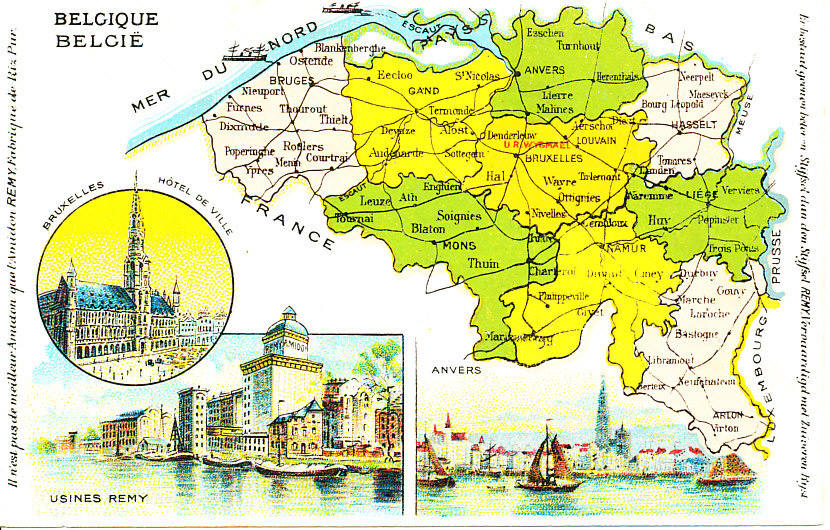 color postcard map of belgium its provinces railroad lines major towns and cities