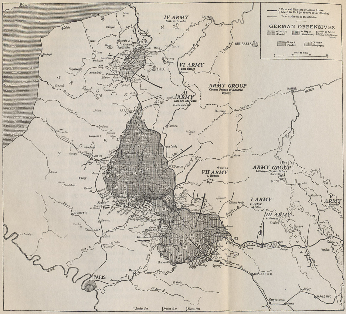 map of the 1918 german offensives on the western front from the memoirs of marshall