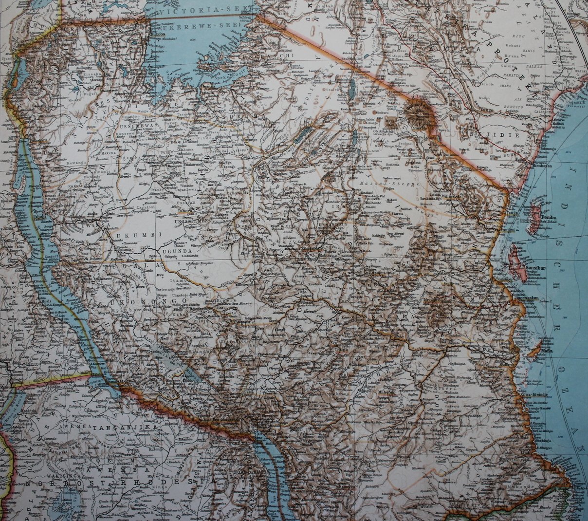 1906 map of german east africa including lakes tangayika and victoria mount kilamanjaro and