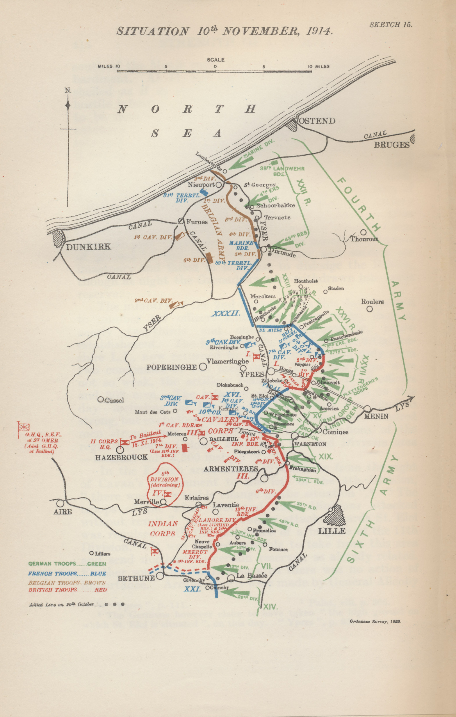 map of the military situation in flanders on november 10 1914 the eve of